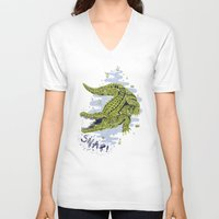crocodile V-neck T-shirts featuring Crocodile by Sam Jones Illustration