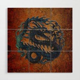 Blue Chinese Dragon on Stone Background Wood Wall Art