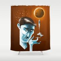 lunar Shower Curtains featuring Lunar dream by Janne Harju