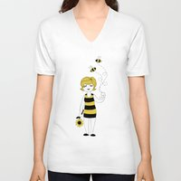 bees V-neck T-shirts featuring Bees by Flora