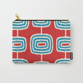 Mid Century Modern Atomic Rings Pattern 260 Cyan Red and Beige Carry-All Pouch