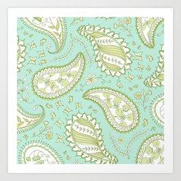 Pretty Paisley - Aqua/Green Art Print