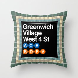 subway greenwich village sign Throw Pillow