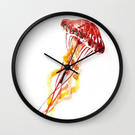 Jellyfish Red Yellow Beach Art Wall Clock