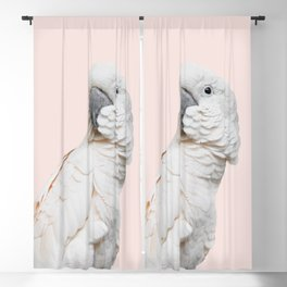Cockatoo Parrot Photography | Blush Pink | Peach | Happy | Tropical | peek-a-booFun | Paradise Blackout Curtain