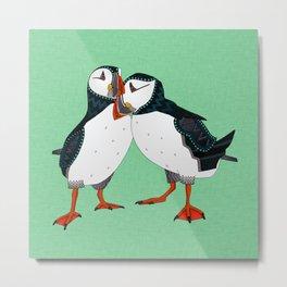 puffin pair green Metal Print