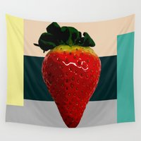 strawberry Wall Tapestries featuring Strawberry by Aztec Pineapple