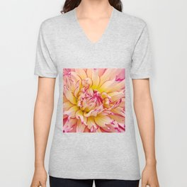 Pink Dahlia with Bright Pink tips Close Up Detail Unisex V-Neck
