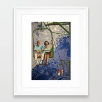 ski Framed Art Prints featuring Ski Lift by TRASH RIOT