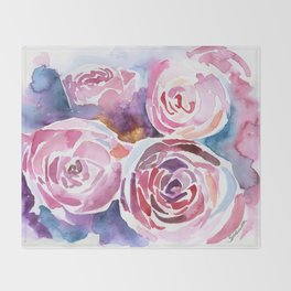 Abstract Peonies Watercolor Throw Blanket