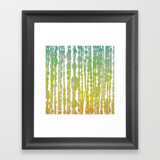 psychedelic stripes - green Framed Art Print