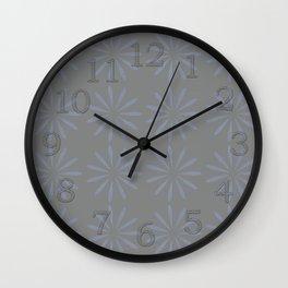 Blue Grey Floral Pattern Wall Clock