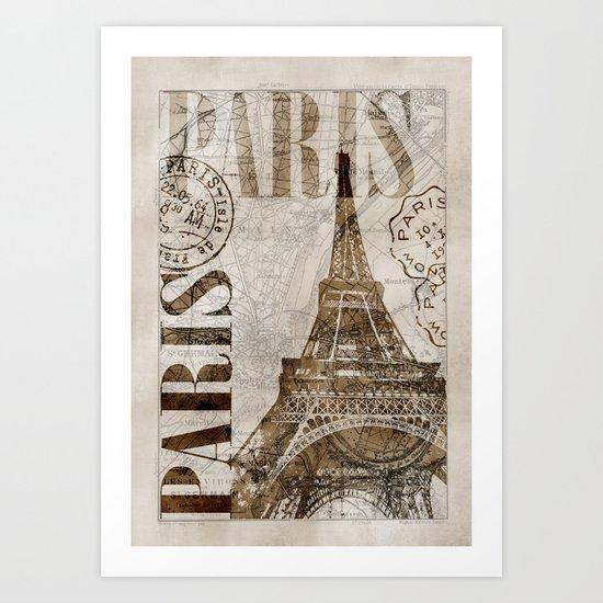 Vintage Paris eiffel tower illustration Art Print