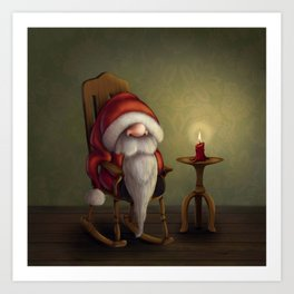 New edit: Little Santa in his rocking chair Art Print
