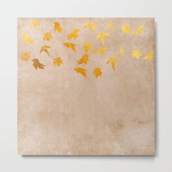 Gold leaves on grunge background - Autumn Sparkle Glitter design #Society6 Metal Print