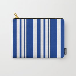 White and blue striped . Carry-All Pouch
