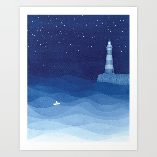 Lighthouse & the paper boat, blue ocean by vapinx