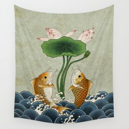 Jumping Carps and lotus A type: Minhwa-Korean traditional/folk art Wall Tapestry