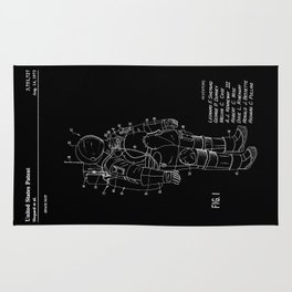 NASA Space Suit Patent - White on Black Rug