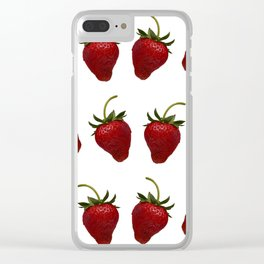 Red, Ripe Strawberries Tumbling in Rows Clear iPhone Case