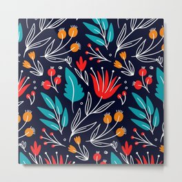 Festive Garden Floral Metal Print