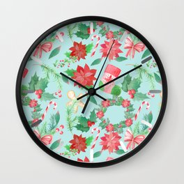 Merry Christmas Pattern (Blue Background) Wall Clock