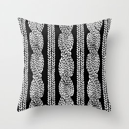 Cable Row Sm Black Throw Pillow