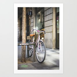 Miss bicycle Art Print
