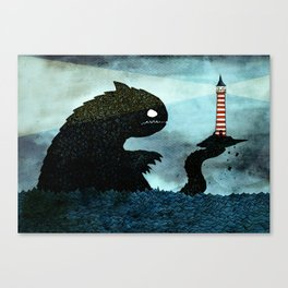 Lighthouse & Sea Monster Canvas Print