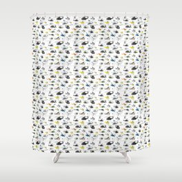Multiple Helicopters Pattern Shower Curtain