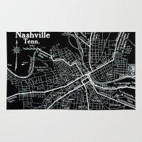 nashville Area & Throw Rugs featuring Vintage Nashville Black by Upperleft Studios