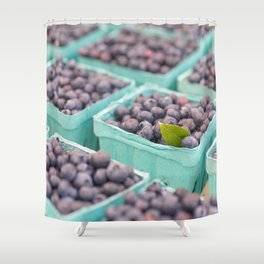 Blueberries at the market Shower Curtain