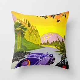 Visit Greece in Auto Travel Throw Pillow
