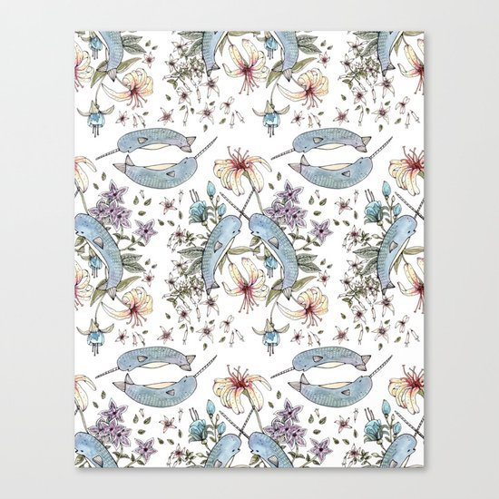 Narwhal pattern Canvas Print