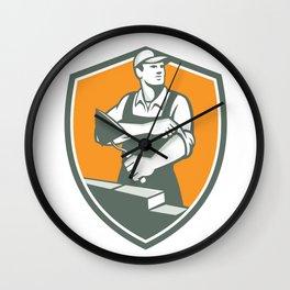 Tiler Plasterer Mason Trowel Shield Retro Wall Clock