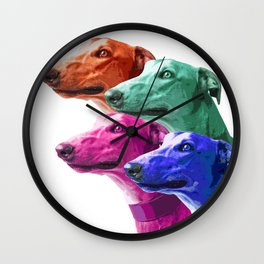 Greyhounds. Pop Art portrait. Wall Clock