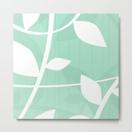 Vine pattern in Mint by Friztin Metal Print