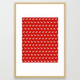 Christmas deer reindeer red and white minimal modern silhouette holiday pattern print design Framed Art Print