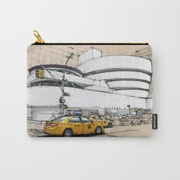 Guggenheim New York, umbrellas and yellow cabs. Sketch Carry-All Pouch