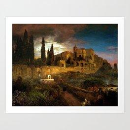 Villa d'Este in Tivoli by Oswald Achenbach Art Print