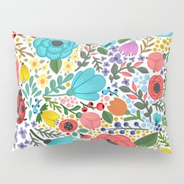 Colorful Vintage Spring Flowers Pillow Sham
