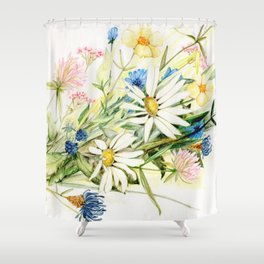 Bouquet of Wildflowers Original Colored Pencil Drawing Shower Curtain