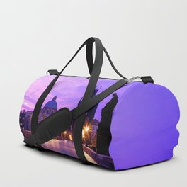 Historic Charles Bridge In Prague Czech Republic Purple Shade Ultra HD Duffle Bag