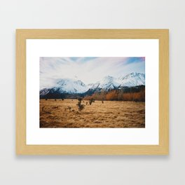 Peaceful New Zealand mountain landscape Framed Art Print