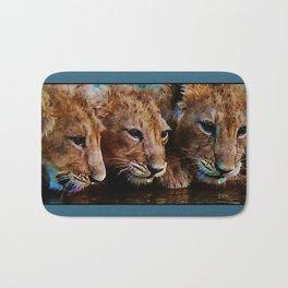 Triplet Baby Lion Cubs Bath Mat