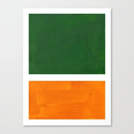Forest Green Yellow Ochre Mid Century Modern Abstract Minimalist Rothko Color Field Squares Canvas Print