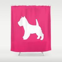 westie Shower Curtains featuring Westie (Pink/White) by Erin Rea