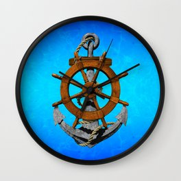 Nautical Ships Wheel And Anchor Wall Clock