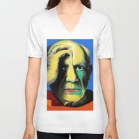 pablo picasso V-neck T-shirts featuring Pablo by Zmudart