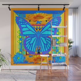 Baby Blues Butterfly Gold Art Wall Mural